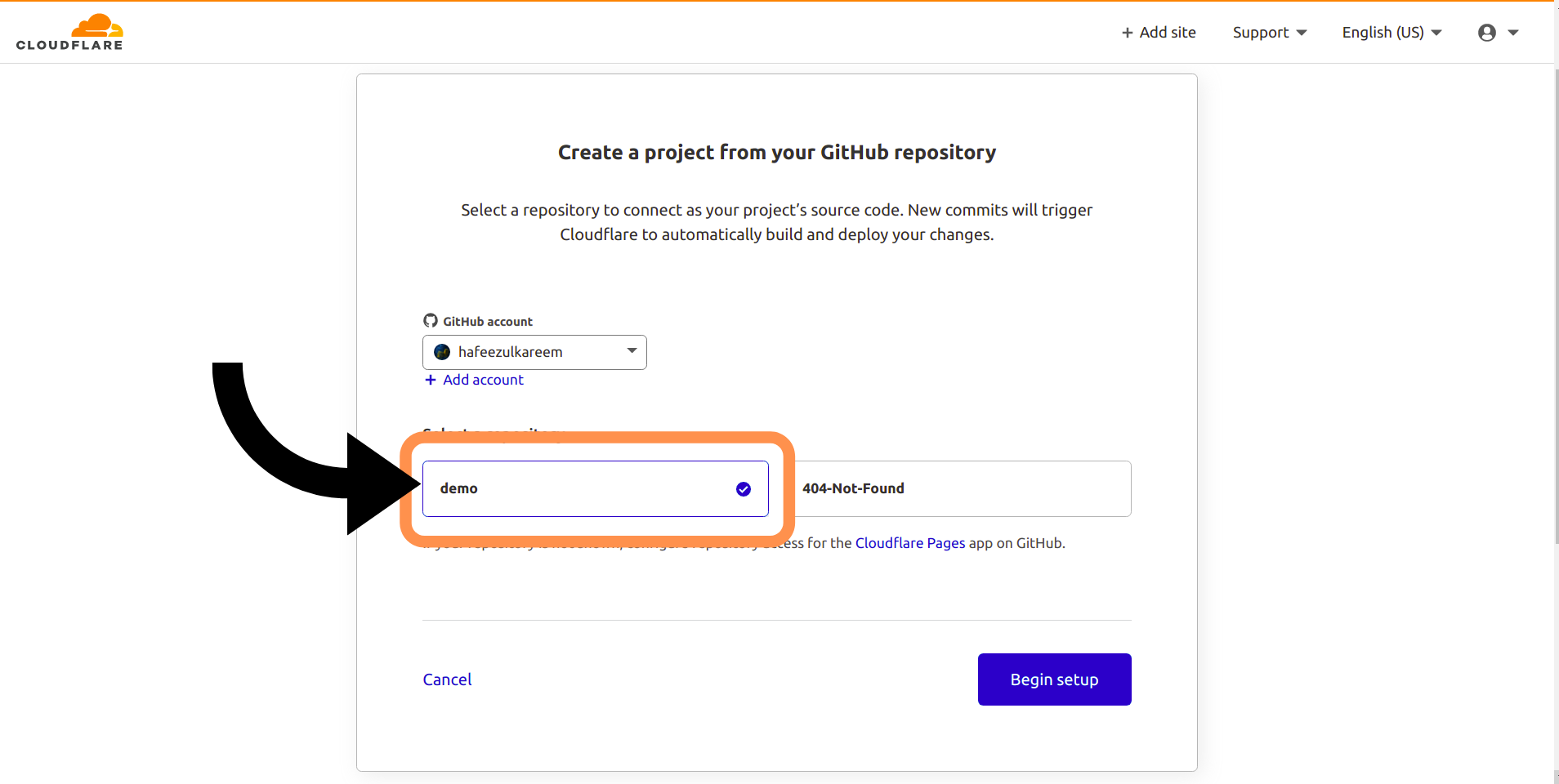 Selecting the Repository to Deploy