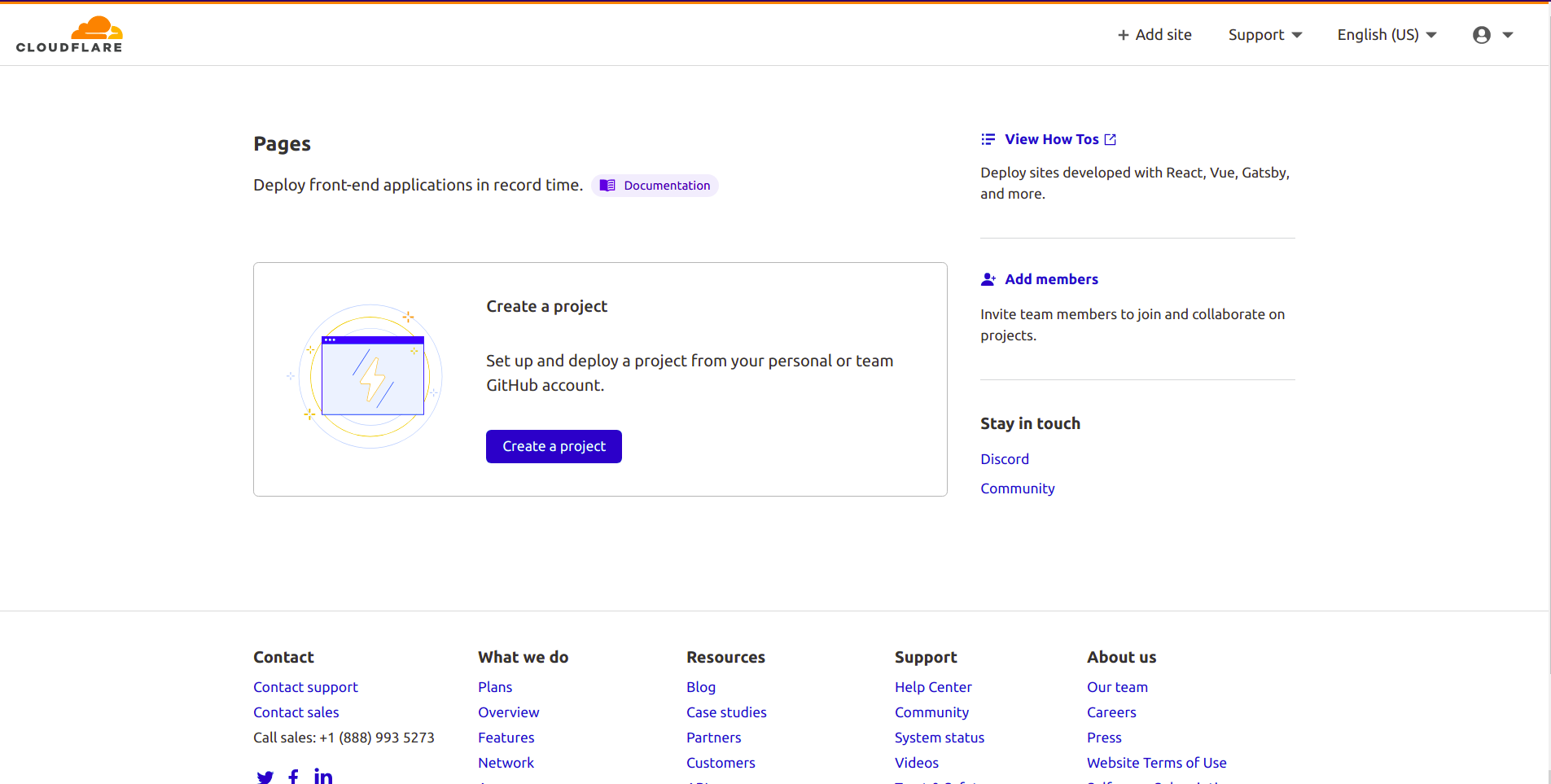 Cloudflare Pages Dashboard