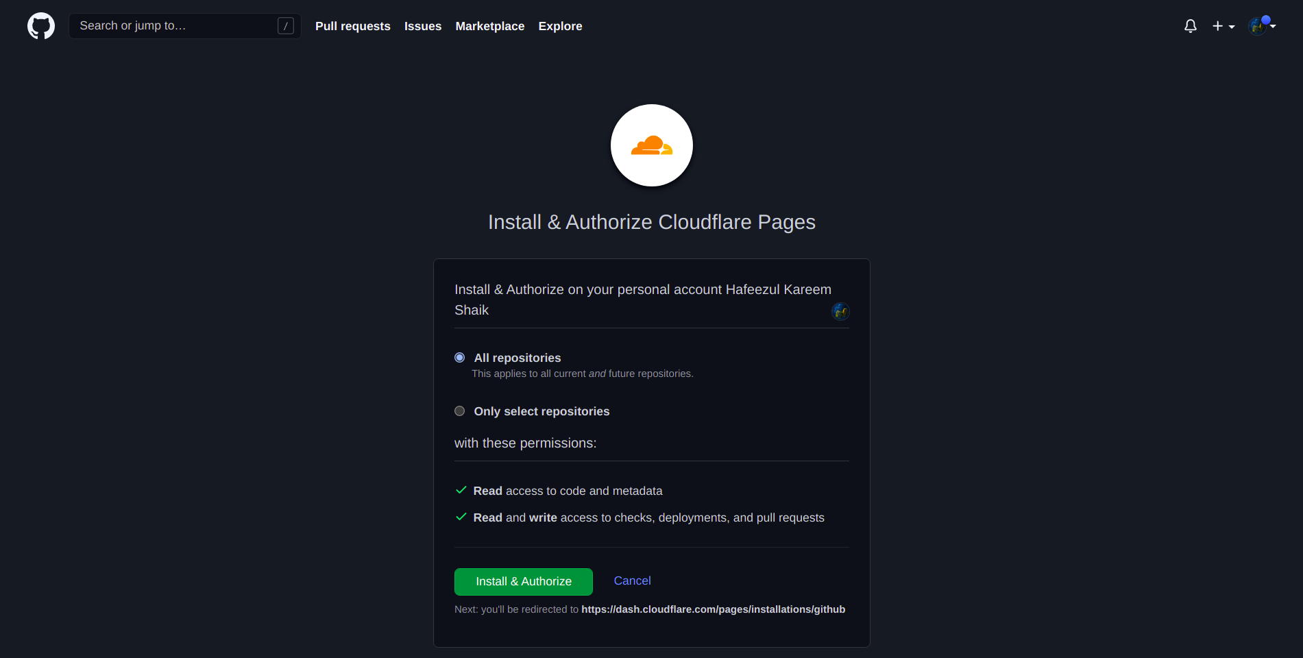 GitHub Cloudflare Pages Authorization
